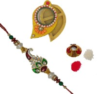 ECraftIndia Single Rakhi With Keri Chopra And Roli Tikka Matki Design Designer Rakhi (Multicolor, 1 Designer Single Rakhi, 1 Roli Tikka Matki, 1 Keri Chopra) - RAKE9ZURRRCX9HNZ