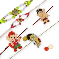 Tradition India Design Designer Rakhi Multicolor, 5 Fancy Rakhi, 1 Pack Roli, 1 Pack Rice