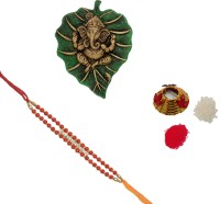 ECraftIndia Design Designer Rakhi Multicolor, 1 Designer Single Rakhi, 1 Roli Tikka Matki, 1 Lord Ganesha On Green Leaf