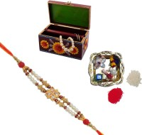 ECraftIndia Single Rakhi With Decorative Jewellery Box And Decorative Pooja Plate Design Designer Rakhi (Multicolor, 1 Designer Single Rakhi, 1 Decorative Pooja Plate, 1 Decorative Jewellery Box)