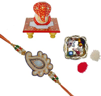 ECraftIndia Design Designer Rakhi (Multicolor, 1 Designer Pearl Single Rakhi, 1 Decorative Pooja Plate, 1 Lord Ganesha On Red Marble Chowki)