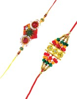 Fashion Envoy Colourful Beadwork Pair Design Designer Rakhi Multicolor, 2 Rakhi