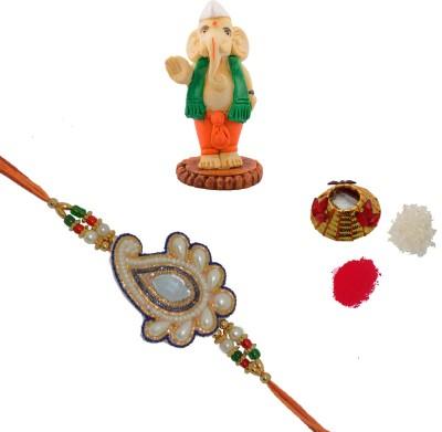 ECraftIndia Design Designer Rakhi Multicolor, 1 Designer Pearl Single Rakhi, 1 Roli Tikka Matki, 1 Neta Ganesha Statue