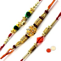 Tradition India Design Designer Rakhi Multicolor, 3 Fancy Rakhi, 1 Pack Roli, 1 Pack Rice