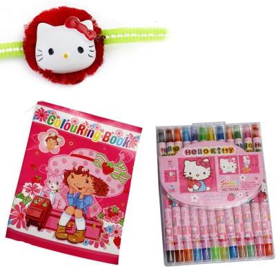 Aapno Rajasthan Colouring Book n Crayons Hamper Design Rakhi Set Multicolor