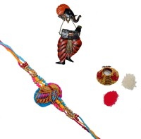 ECraftIndia Single Rakhi With Lord Ganesha Playing Harmonium Wall Hanging And Roli Tikka Matki Design Designer Rakhi (Multicolor, 1 Designer Single Rakhi, 1 Roli Tikka Matki, 1 Lord Ganesha Playing Harmonium Wall Hanging)