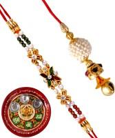 Siddhi Sales Design Bhaiya Bhabhi Rakhi Multicolor, 2 Rakhis, 1 Thali