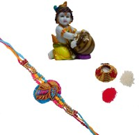 ECraftIndia Single Rakhi With Colorful Makhan Chor Statue And Roli Tikka Matki Design Designer Rakhi Multicolor, 1 Designer Single Rakhi, 1 Roli Tikka Matki, 1 Colorful Makhan Chor Statue