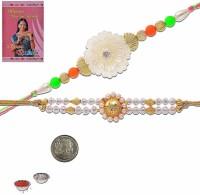 Little India Design Designer Rakhi (Multicolor, 2 Pearl Rakhees, 1 Pooja Coin, 1 Pack Roli, 1 Greeting Card, 1 Pack Rice)