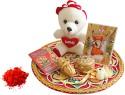 Luxury Gifts By Nikki Precious Thali Design Thread Rakhi (White, Red, Gold)