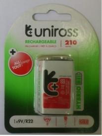 Uniross 9 Volts 210 mAh Rechargeable Battery