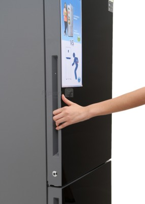 Haier 345 L Frost Free Double Door Refrigerator (HRB -3654PKG-R, Black Glass)