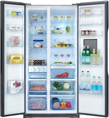 Panasonic 630 L Frost Free Side by Side Refrigerator (NR-BS63VSX2, Silver)