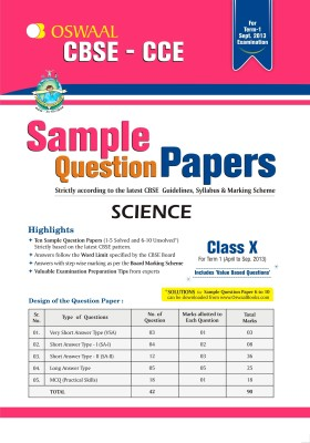 Buy Oswaal CBSE CCE Sample Question Papers For Class 10 Term I (April To September 2013) Science: Regionalbooks