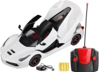 FLIPZON RC Ferrari Style Rechargeable Car 1:16 With Opening Doors And Dicky (White) (White)