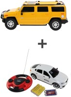 ECO SHOPEE REMOTE CONTROL 1:24 YELLOW HUMMER CAR WITH JACKMEAN WHITE RECHARGABLE CAR WITH STEARING (Yellow)