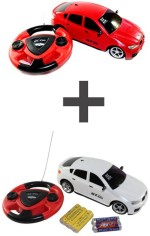 ECO SHOPEE Remote Control Toys ECO SHOPEE JACKMEAN RED RECHARGABLE CAR WITH STEARING WITH JACKMEAN WHITE RECHARGABLE CAR WITH STEARING