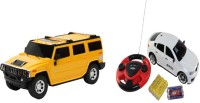 ECO SHOPEE REMOTE CONTROL 1:24 YELLOW HUMMER CAR WITH JACKMEAN WHITE RECHARGABLE CAR WITH STEARING TOY FOR KIDS (YELLOW)