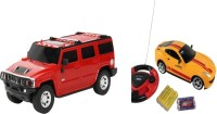 ECO SHOPEE REMOTE CONTROL 1:24 RED HUMMER CAR WITH JACKMEAN YELLOW RECHARGABLE CAR WITH STEARING TOY FOR KIDS (RED)