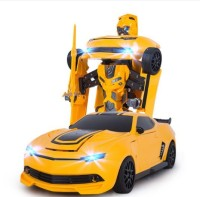 The Flyer's Bay Troopers RC Transforming Car Cum Robot Simulation Model With Sound Light (Multicolor)
