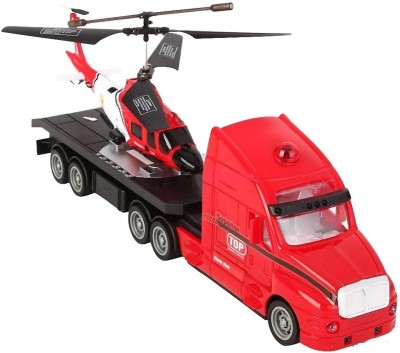The Flyer's Bay Combo Of Helicopter & Truck(Red) (Multicolor)