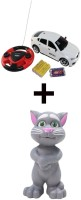 ECO SHOPEE JACKMEAN WHITE RECHARGABLE CAR WITH STEARING WITH TALKING TOM GREY (White)
