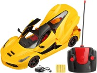 FLIPZON RC Ferrari Style Rechargeable Car 1:16 With Opening Doors And Dicky (Yellow) (Yellow)