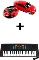 ECO SHOPEE JACKMEAN RED RECHARGABLE CAR WITH STEARING WITH 37 KEY MUSICAL ELECTRONIC PIANO KEYBOARD (Red)