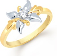 VK Jewels VK Jewels Lily Flower Gold And Rhodium Plated Ring Alloy Cubic Zirconia 18K Yellow Gold Ring