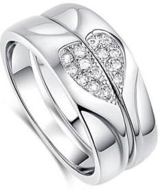 Zevrr Heart shape Sterling Silver Swarovski Zirconia Platinum Ring Set