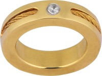 Vaishnavi 24kt Gold Coated Beautifuly Design Couples Delight Made Of 316L Surgical Stainless Steel Cubic Zirconia Ring
