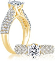 Sukkhi Cubic Zirconia Stone Studded Solitaire Alloy Cubic Zirconia Rhodium, 18K Yellow Gold Ring