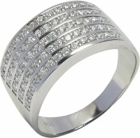 Arkina Diamonds Gents Studded Silver Sterling Silver Ring