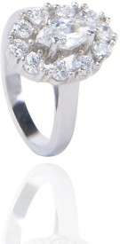 Amantran Jewels Silver Cubic Zirconia Sterling Silver Ring