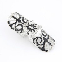 Cinderella Collection By Shining Diva Black & Silver Alloy Ring