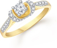 VK Jewels Shapely Solitaire Alloy Cubic Zirconia Yellow Gold Ring
