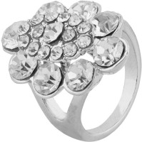 Voylla Artifictial Floral Plain Alloy Crystal Silver Plated Ring