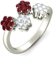 BlueStone The Serelia White Gold Ruby, Diamond 18K White Gold Plated 18 K Ring