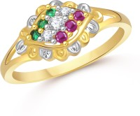 VK Jewels Tri Color Alloy 18K Yellow Gold Ring