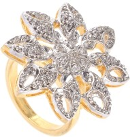 Be You Fusion-Kundan Brass Cubic Zirconia 18K White Gold, 18K Yellow Gold, Rhodium Plated Ring