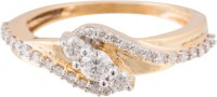 Wite&Gold Ornate Tilt Yellow Gold Diamond 18K Yellow Gold 18 K Ring