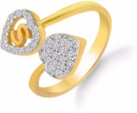 Kanak Jewels Diamond Heart Letter S Designed For Girls & Women Brass Cubic Zirconia Yellow Gold Ring