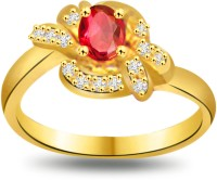 Surat Diamond Flower Shape Diamond & Ruby Ring SDR1031 Yellow Gold Diamond, Ruby 18 K Ring