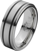 Inox Jewelry Double Rubber Stripe Band Titanium Ring