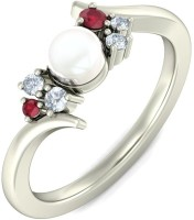 BlueStone The Shellina White Gold Ruby, Pearl, Diamond 14K White Gold 14 K Ring