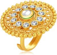 Sukkhi Ethnic Designer Traditional Cocktail Gold Plated Kundan Alloy 18K Yellow Gold Ring