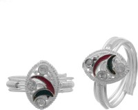 Memoir Red And Green Meena Triple Band Brass Cubic Zirconia Silver Toe Ring