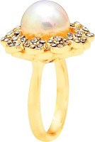 Memoir Nice Flower Design Brass Cubic Zirconia Yellow Gold Ring