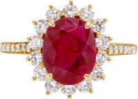 Rm Jewellers 92.5 Pure Sterling Glorious Silver Cubic Zirconia, Ruby Ring