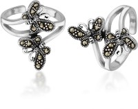 Peora Oxidised Marcasite Butterfly Sterling Silver Toe Ring